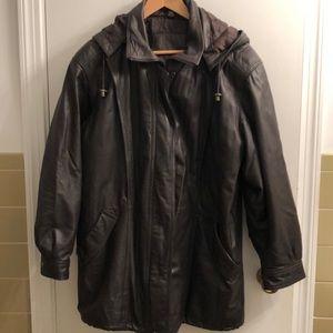 VTG Jacqueline Ferrar Leather Hooded Jacket